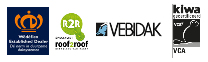 Certificaten Wédéflex, Roof2Roof, Vebidak en Kiwa VCA